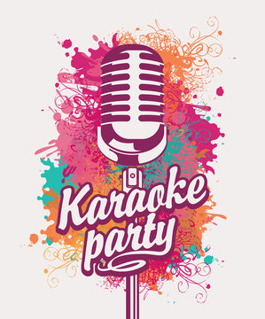 Vector banner with microphone and inscription karaoke party on the art background with colored spots, splashes and curls in grunge style