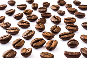 Coffee beans pattern isolated on white background