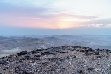 Landscape sunrise over Israel judean desert with magic sunlight