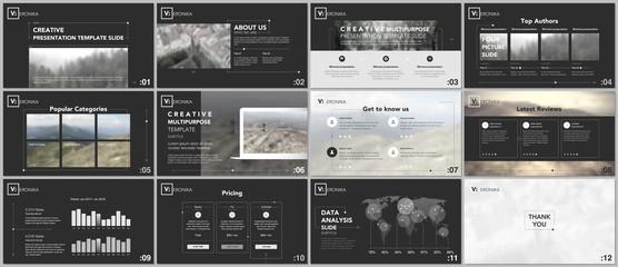 Minimal presentation templates. Simple geometric elements on black background for your portfolio template. Brochure cover vector design. Presentation slides for flyer, brochure, report, advertising.