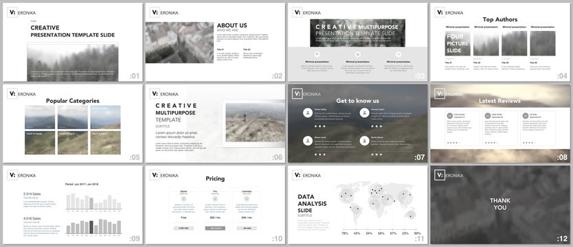 Clean, minimal presentation templates. Simple elements on white background for your portfolio template. Brochure cover vector design. Presentation slides for flyer, brochure, report, advertising.