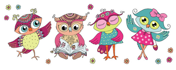 Four cute colorful cartoon owls