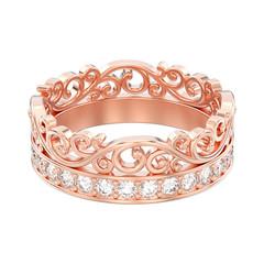 3D illustration isolated rose gold decorative crown diadem diamond ring