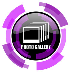 Photo gallery pink violet modern design vector web and smartphone icon. Round button in eps 10 isolated on white background.