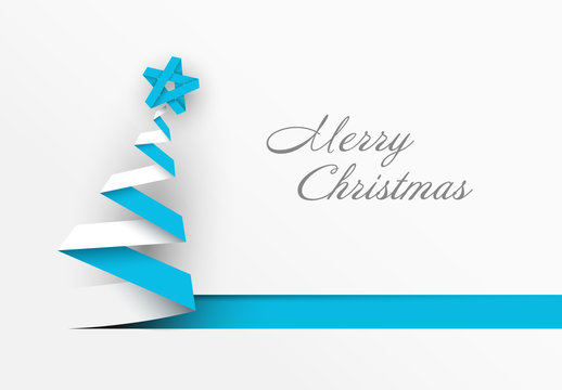 Christmas Card with Blue and White Ribbon Tree