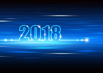 Technology abstract background for happy new year 2018