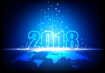 Happy New Year 2018, Futuristic technology abstract with glowing neon light