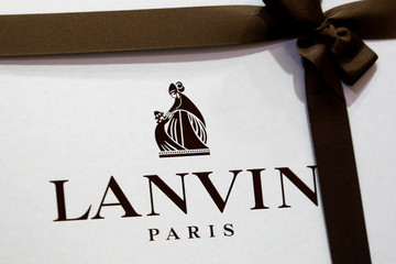 The logo of Lanvin, luxury clothing and accessories, is seen on a box in a store of French fashion house Lanvin in Paris