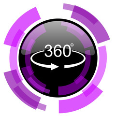 Panorama 360 pink violet modern design vector web and smartphone icon. Round button in eps 10 isolated on white background.