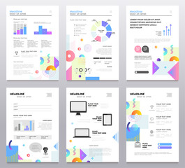 Presentation booklet - set of modern vector abstract templates