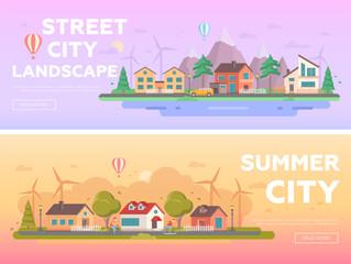 City landscape - set of modern flat vector illustrations