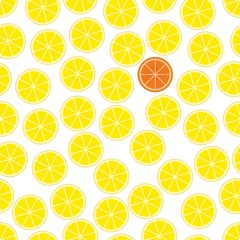 Seamless background, pattern with slices of orange and a slice of grapefruit. Vector illustration.
