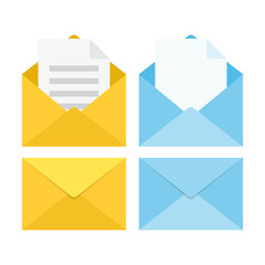 set of closed and open envelopes. Vector illustration