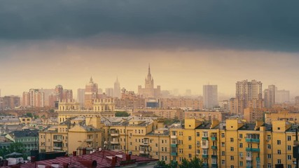 Fotobehang - Moscow cityscape, rain clouds moving over gloomy city skyline. Zoom in timelapse