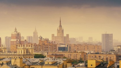 Fotobehang - Moscow cityscape, rain clouds gloomy city skyline timelapse. Zoom out. 4K UHD