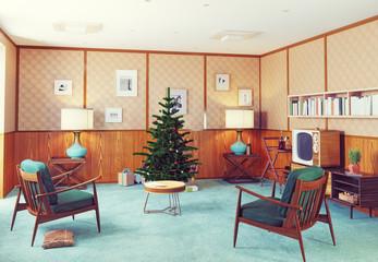 retro style christmas interior.
