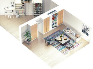 modern rooms isometric