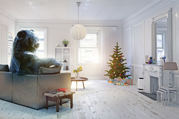 The bear in the xmas room