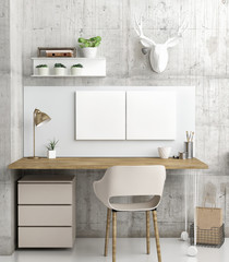 Posters in home office, Scandinavian Style, decoration 3d render, 3d illustration
