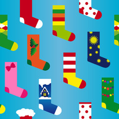 Christmas sock seamless colorful vector pattern