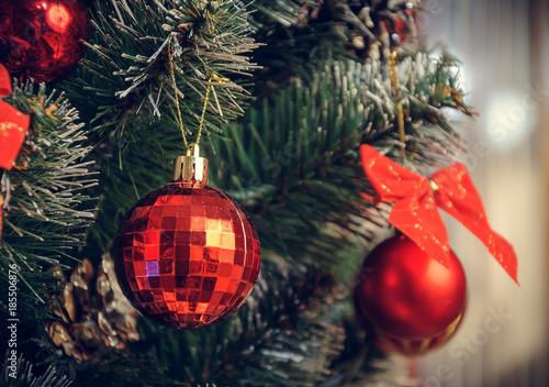 Vintage Artificial Christmas Trees.Christmas Decorations On An Artificial Christmas Tree A Photograph
