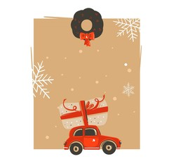 Hand drawn vector abstract Merry Christmas and Happy New Year time vintage cartoon illustrations greeting card tag template with car and surprise christmas box isolated on white background