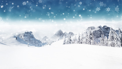 Wall Mural - Winter blur alpine landscape with snow flakes.