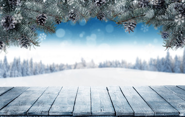 Winter background with empty wooden planks and fir branches