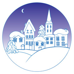 Winter landscape with small houses in a circle. A flat vector icon for the designer's work. Icon with winter contour houses.