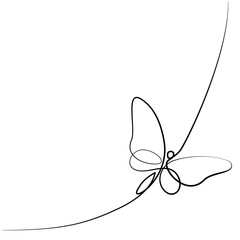 Continuous one line different width drawing. Flying butterfly logo. Black and white vector illustration. Concept for logo, card, banner, poster, flyer