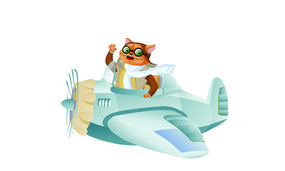 Cute funny animal pilot characters flying on airplane - cat and raccoon, cartoon vector illustration with space for text. Little baby cat and raccoon characters flying on airplane. Magnificent cat Avi