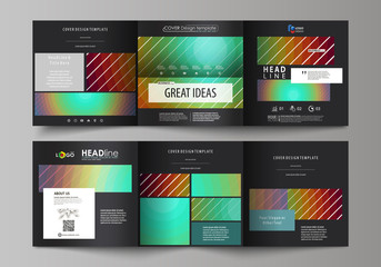 Business templates for tri fold square brochures. Leaflet cover, abstract vector layout. Minimalistic design with circles, diagonal lines. Geometric shapes forming beautiful retro background.