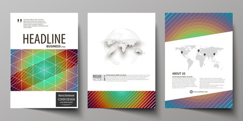 Business templates for brochure, flyer, booklet. Cover template, abstract vector layout in A4 size. Minimalistic design with circles, diagonal lines. Geometric shape, beautiful retro background