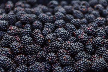 Fresh blackberries at market, closeup