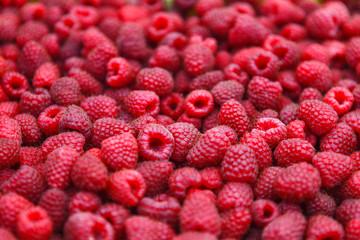 Fresh raspberry at market, closeup