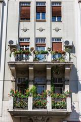 Windows of Building facade balcony Belgrade