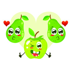 Funny lovely characters of two pear and apple. Vector illustration isolated on white background