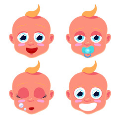 Emotions faces of little baby. Emoji. Vector illustration isolated on white background