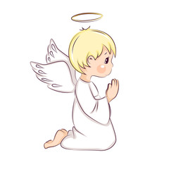 Cute little Christmas angel. Vector isolated on white background.