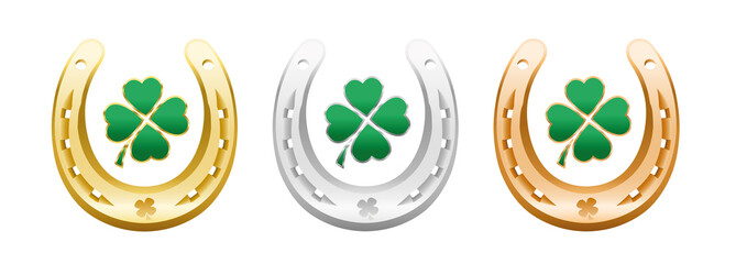 Four leaf clovers in golden, silver and bronze horseshoes - lucky symbols representing success, health, wealth, fortune, luck, happiness and prosperity - isolated vector on white background.