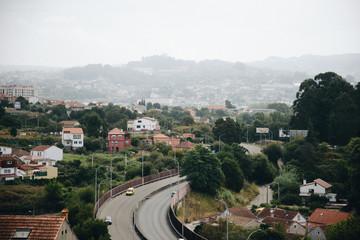Aerial view of asphalt highway with cars in city Vigo
