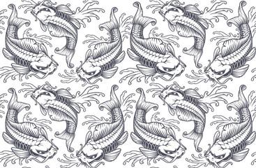 Koi carp seamless pattern (version for white background)