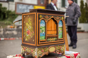 A barrel organ at a Christmas market in Switzerland - 2