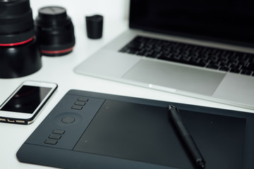 Workspace of professional retoucher.