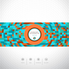 Abstract vector background. Multicolored geometric ornament and grid. Place for your text. Icons photo, gallery, favorites and mail. Perfect for corporate or website design.