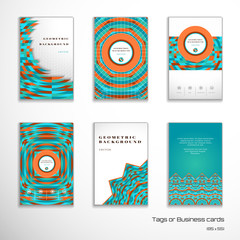 Set of six vertical business cards. Multicolored geometric ornament and grid. Complied with the standard sizes. Icons photo, gallery, favorites and mail. Perfect for corporate design.
