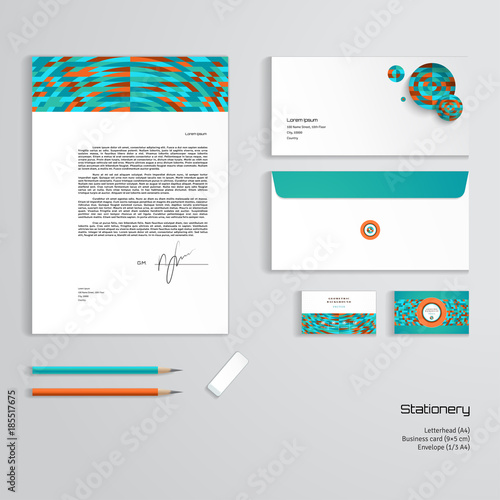 Vector identity templates multicolored geometric ornament vector identity templates multicolored geometric ornament letterhead envelope business card pencils flashek Image collections