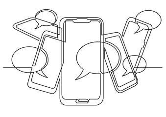 continuous line drawing of social media on mobile phones