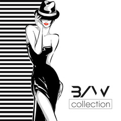 Black and white fashion logo with woman model silhouette. Hand drawn vector illustration background