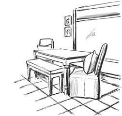 Black and white interior sketch illustration vector. Table and chair